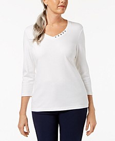 Plus Size Button-Detail V-Neck Top, Created for Macy's