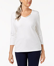Karen Scott Cotton V-Neck Button Top, Created for Macy's