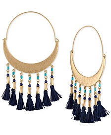 RACHEL Rachel Roy Gold-Tone Bead & Tassel Hoop Earrings