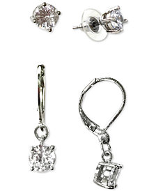 Charter Club Silver-Tone 2-Pc. Set Crystal Stud & Drop Earrings, Created for Macy's