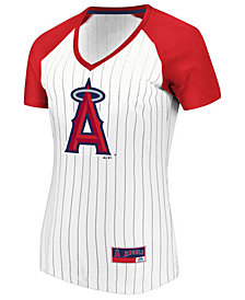 Majestic Women's Los Angeles Angels Every Aspect Pinstripe T-Shirt
