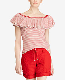 Lauren Ralph Lauren Striped Ruffled Off-The-Shoulder Top