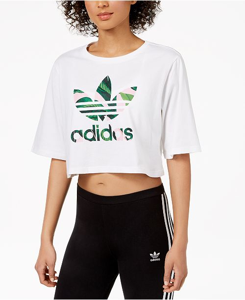 cfc51eee961709 adidas Cotton Printed-Logo Cropped T-Shirt   Reviews - Tops ...