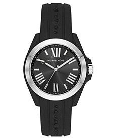 Michael Kors Women's Bradshaw Black Silicone Strap Watch 38mm