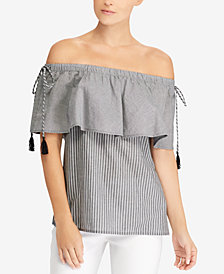 Lauren Ralph Lauren Ruffled-Overlay Cotton Top