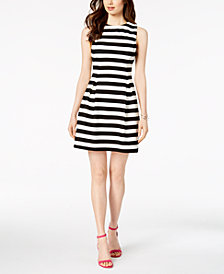 Jessica Howard Petite Striped A-Line Dress