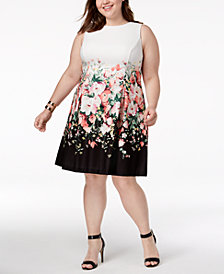 Jessica Howard Plus Size Floral Colorblocked Dress