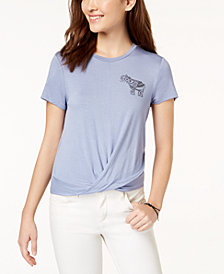 Pretty Rebellious Juniors' Elephant Knot-Front Graphic T-Shirt