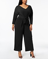 c15af8a45864e2 NY Collection Plus Size Tie-Front Jumpsuit