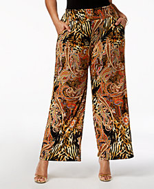 NY Collection Plus & Petite Plus Size Printed Wide-Leg Pants