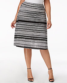 NY Collection Plus & Petite Plus Size Striped Midi Skirt