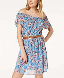 FISHBOWL Juniors' Printed Belted Off-The-Shoulder Dress