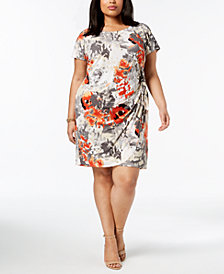 Robbie Bee Plus Size Tie-Front Sheath Dress