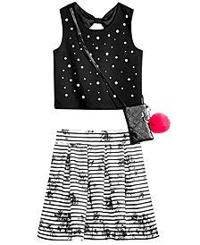Beautees Big Girls 3-Pc. Top, Skirt & Shoulder Bag Set