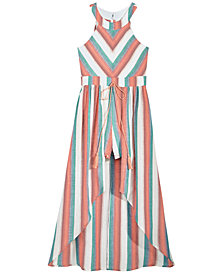 Crystal Doll Big Girls Striped Maxi-Overlay Romper