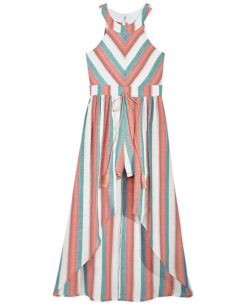 5300cf5e8fb7 Crystal Doll Big Girls Striped Maxi-Overlay Romper   Reviews ...