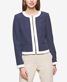 Tommy Hilfiger Dot-Print Colorblocked Zip Front Jacket