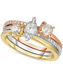 3 Pc. Diamond Stacking Ring Set (3/4 ct. t.w.) in 14k Gold, White Gold & Rose Gold