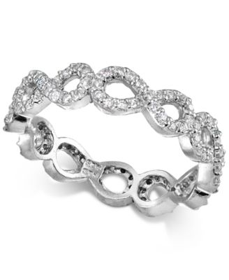 Cubic Zirconia Stackable Pavé Infinity Band in Sterling Silver, Created for Macy's