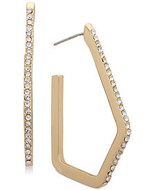 Anne Klein Pavé Geometric Hoop Earrings