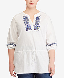Lauren Ralph Lauren Plus Size Embroidered Cotton Top