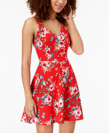 Trixxi Juniors' Strappy-Back Fit & Flare Dress