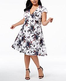 Betsey Johnson Plus Size V-Neck Floral Dress