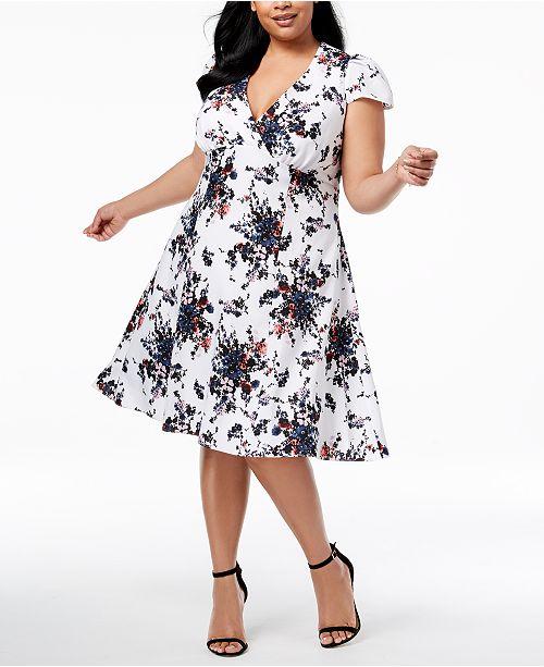 Multi Johnson Ivory Neck Dress Floral Plus Betsey V Size 8qfxHfT6