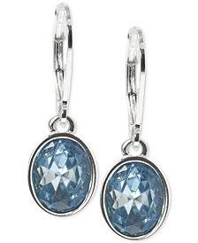 Anne Klein Silver-Tone Oval Stone Drop Earrings