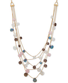 Anne Klein Gold-Tone Multi-Stone Adjustable Layered Necklace