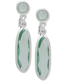 Anne Klein Silver-Tone Stone E-Z Comfort Clip-On Drop Earrings