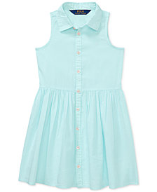 Polo Ralph Lauren Little Girls Dress, Cotton Poplin Shirtdress