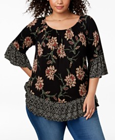Style & Co Plus Size Flounce-Trim Top, Created for Macy's