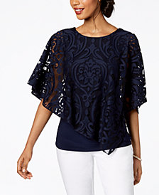 MSK Lace Overlay Top