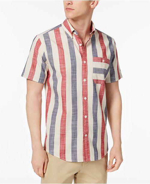 0f21c245 ... Tommy Hilfiger Men's Striped Classic Fit Pocket Button Down Shirt ...