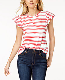 Maison Jules Striped Flutter-Sleeve T-Shirt, Created for Macy's