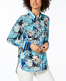 Tommy Hilfiger Tropical-Print Button-Down Top, Created for Macy's