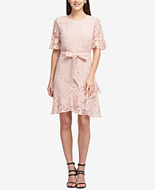 DKNY Lace Ruffled-Hem Dress, Created for Macy's