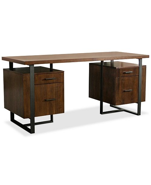The Sleek Antique Brass Tone Legs And Accents Of Handsome Functional Valencia Home Office Furniture Collection Are Balanced By Warm Walnut Finish