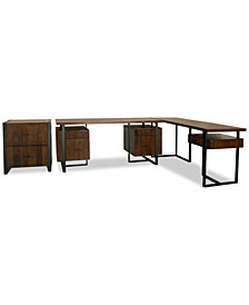 Valencia Home Office, 3-Pc. Furniture Set (Double Pedestal Desk, Return Desk & File Cabinet)
