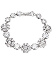 Silver-Tone Crystal & Imitation Pearl Flex Bracelet, Created for Macy's