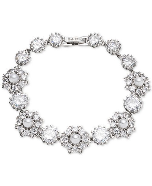 Marchesa Silver-Tone Crystal & Imitation Pearl Flex Bracelet, Created for Macy's