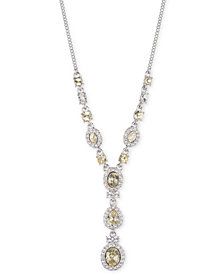 "Givenchy Silver-Tone Crystal & Stone 19"" Lariat Necklace, Created for Macy's"