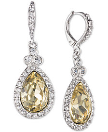 Givenchy Silver-Tone Pavé & Stone Drop Earrings, Created for Macy's