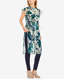 Vince Camuto Flutter-Sleeve Jungle Palm Tunic