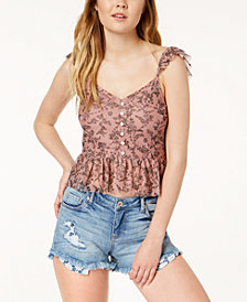 American Rag Juniors' Printed Mesh Ruffled Tank Top, Created for Macy's