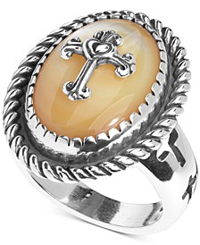 Mother-of-Pearl Doublet Cross Ring in Sterling Silver