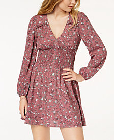 American Rag Juniors' Printed Smocked Fit & Flare Dress, Created for Macy's