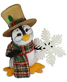 Annalee Plaid Tidings Penguin Figurine
