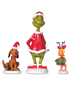 Department 56 Village 3-Pc. Figure Grinch, Max & Cindy-Lou Who